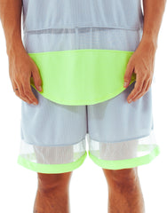 Bleach Mesh Panel Basketball Shorts Neon Grey Front
