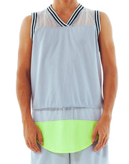 Bleach Mesh Panel Basketball Jersey Neon Grey
