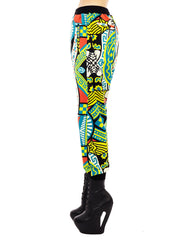 KTZ Multicoloured Card Print Harem Trousers