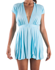 Backless Zip Angel Dress in blue