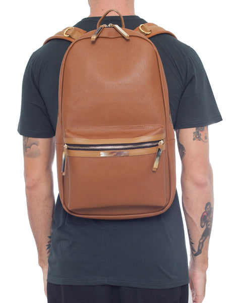 APRIY Leather Laptop Backpack Tanned