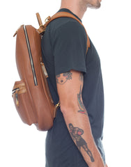 APRIY Leather Laptop Backpack Tanned Side