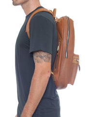 APRIY Leather Laptop Backpack Tanned Left