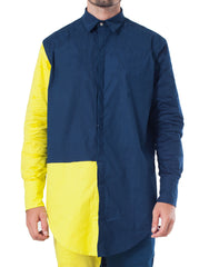 Bleach Project Navy and Canary Geometric Button Down Shirt Front