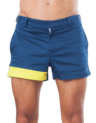 Bleach Project Geometric Beach Shorts Navy/Canary Front