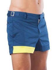 Bleach Project Geometric Beach Shorts Navy/Canary Side