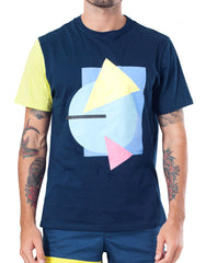 Bleach Project Geometric Basic Tee in Navy/Canary Front