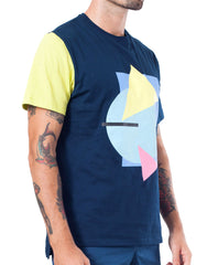 Bleach Project Geometric Basic Tee in Navy/Canary Side