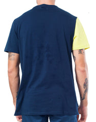 Bleach Project Geometric Basic Tee in Navy/Canary Back