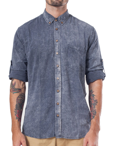 Naken Black Wash Button-Up Shirt