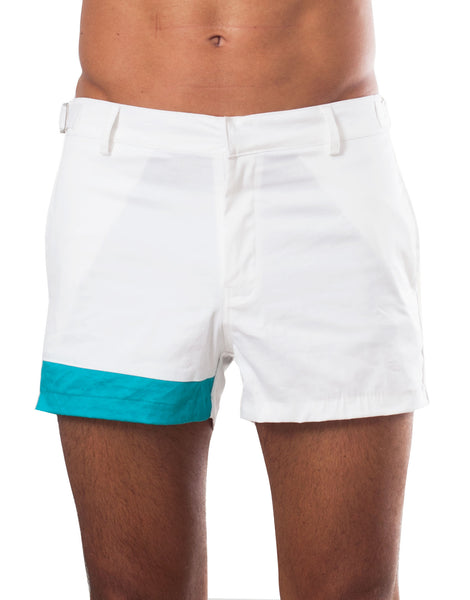 Bleach Project Geometric Beach Shorts White/Aqua