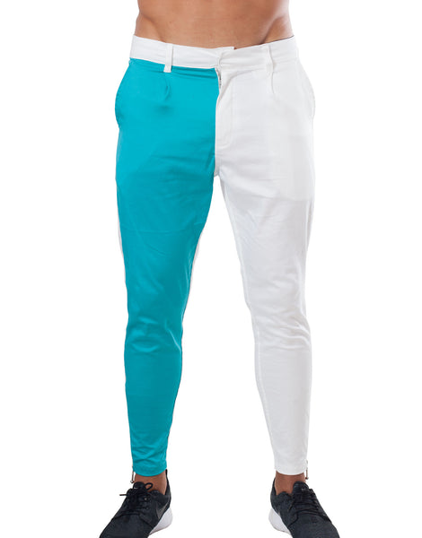 Bleach Project Geometric Pleated Drop Pants White/Aqua