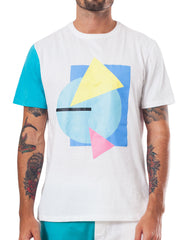 Bleach Project Geometric Basic Tee White/Aqua Front