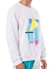 Bleach Project Geometric Sweater White/Aqua Side