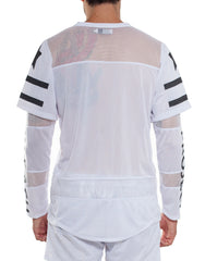 Double Sleeve Hockey Tee White Back