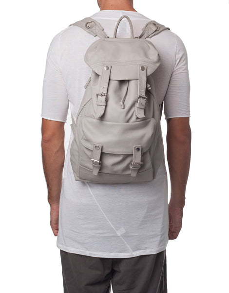 APRIY Light Grey Leather Backpack