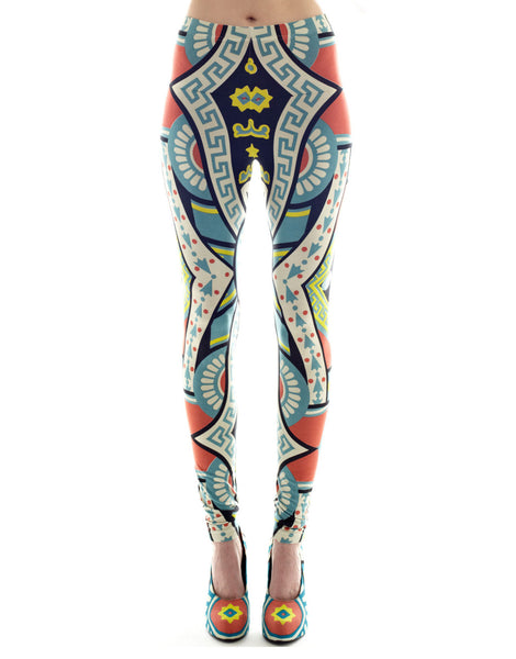KTZ Multicolored Card Print Leggings Blue