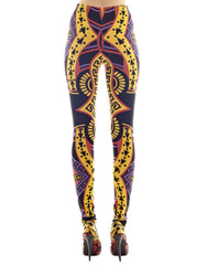 KTZ Multicolored Card Print Leggings Yellow