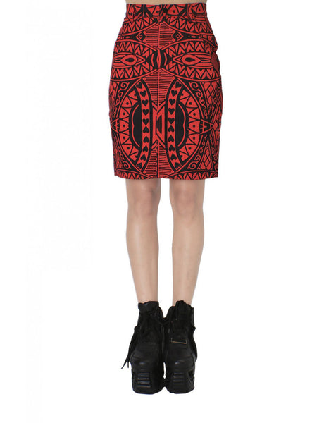 KTZ Card-Print Tight Pencil Skirt