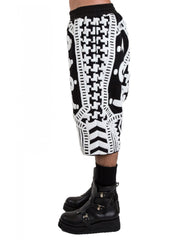 KTZ Dogtooth Towelling Harem Shorts Side