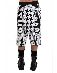 KTZ Dogtooth Towelling Harem Shorts Back