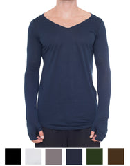 APRIY Fine V-Neck Long Sleeve Front