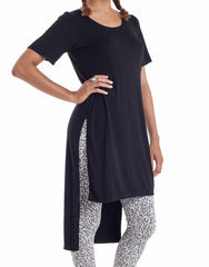 Nemis Women Side Split T-Shirt Dress Black Side