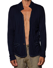 FRANKSLAND Cardigan - Navy Mens Cardigan With Stitch Details