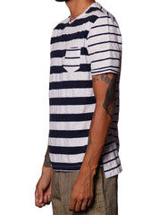 Bleach Navy Mixed Stripes Tee