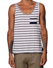 Bleach Mixed Stripes Singlet - Mens Striped Tank