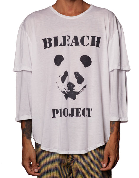 Bleach Double Sleeve Panda Tee White