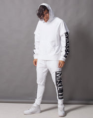 Fake It Skinny Joggers White Outfit