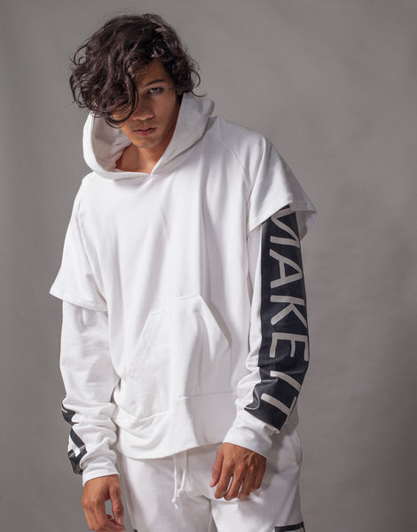 Bleach Fake It Double Sleeves Hoodie White