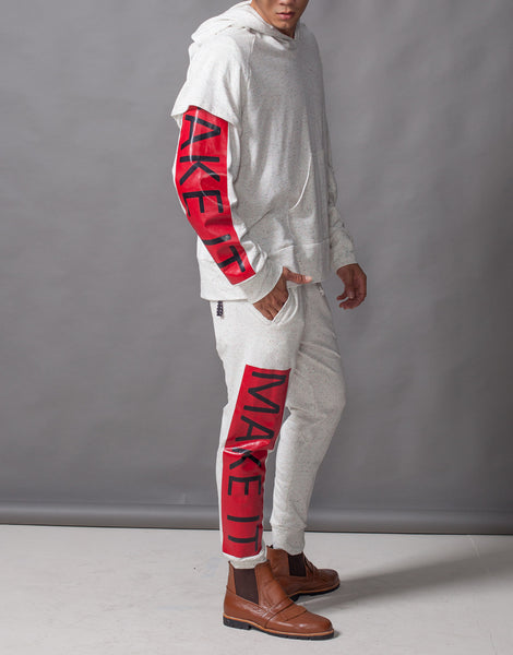 Bleach Fake It Double Sleeve Hoodie Red