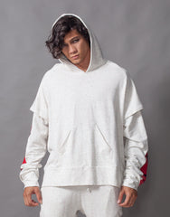 Bleach Fake It Double Sleeve Hoodie Red Front