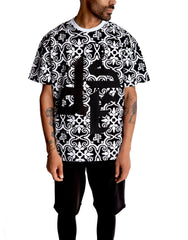 Dystopia Full Pattern Logo Tee Black Front