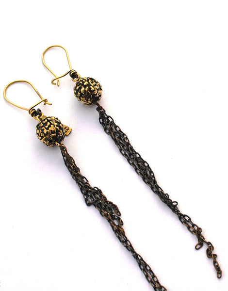 eleven44 Rudra Seed Chain Drop Earrings