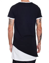 Nemis Double Layer Asymmetric Tee Black Back
