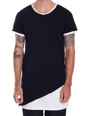 Nemis Double Layer Asymmetric Tee Black Front