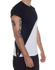 FRANKSLAND Black-White Zipper Tee Side