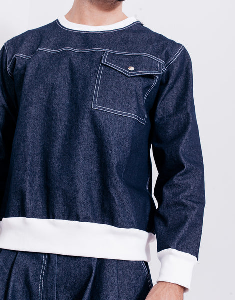 Bleach Denim Utility Pocket Sweater