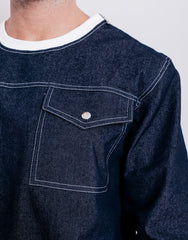 Bleach Denim Utility Pocket Sweater Pocket