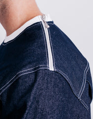 Bleach Denim Utility Pocket Sweater Shoulder Details