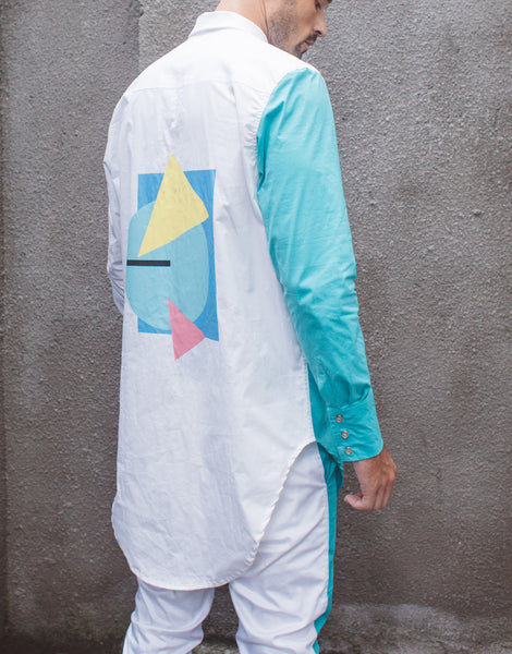 Bleach Project Geometric Button Down Shirt White/Aqua