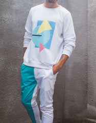 Bleach Project Geometric Sweater White/Aqua Outfit