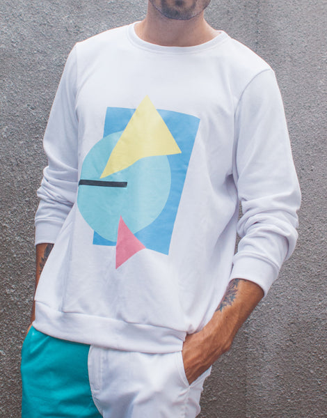 Bleach Project Geometric Sweater White/Aqua