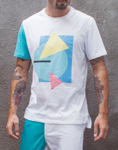Bleach Project Geometric Basic Tee White/Aqua