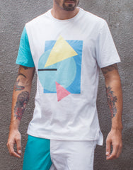 Bleach Project Geometric Basic Tee White/Aqua Main
