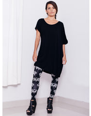 eleven44 Black Asymmetric Tee Bamboo Front Outfit
