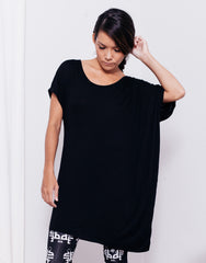 eleven44 Black Asymmetric Tee Bamboo Front
